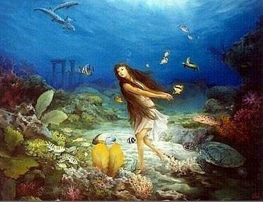 """绘画 油画 动物名家 赤人 国际艺栈 > 赤 人的作品""""海底夏娃"""""""